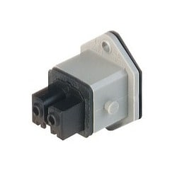 STAKEI 200 grey; Panel-mounted Socket with coding slot and added gasket, 2 contacts + PE, female, 16A AC, 10A DC, 250V AC/DC
