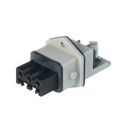 STAKEI 3 N grey; Panel-mounted Socket, added gasket, 3 contacts + PE, female, 16A 400V AC, 10A 250V DC