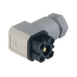 G 4 W 1 F grey; Cable Socket with PG 7 Cable gland and solder contacts, 4 contacts, forked spring, DIN VDE 0627 / IEC 61984, 6A, 50V AC/DC