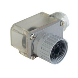 N6R FF S 11; Angled Cable Socket, strain relief by means of a clamping cage, transparent cap, for installation of the LED insert, 6 contacts + PE, transparent/grey housing