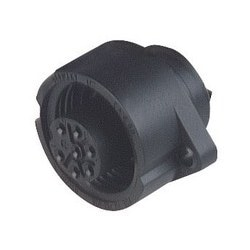 CA 6 GD; Panel-mounted Socket with flange, 6 contacts + PE, black housing, 10A, 250V AC/DC