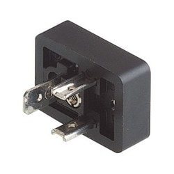 GSN 20 black; Appliance connector with central screws (hollow), 1 screw M 3 x 4, 2 contacts + PE, DIN EN 175 301-803-B