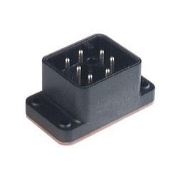 GO 700 FA M black; Surface mounted connector with flange with solder contacts, 7 contacts, male, DIN VDE 0627 / IEC 61984, 10A 250V AC, 6A 250V DC