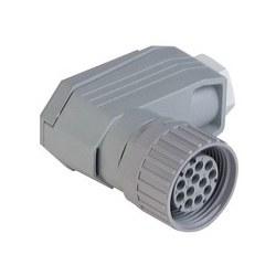 N11R FF; Prise de câble coudé, réducteur de tension au moyen d'une cage de serrage, 11 contacts + PE, PG11, gris logement