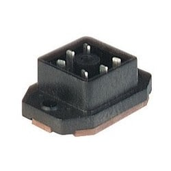 GO 6 FAV M black; Surface mounted connector with flange with solder contacts, 6 contacts, blade, DIN VDE 0627 / IEC 61984, 6A 50V AC/DC