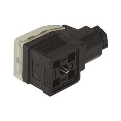 GDME 3011 black; Cable Socket with central screw M 3 x 40, strain relief and transparent cover, possibility to fit electronic inserts, 3 contacts + PE, PG11, Type A, DIN EN 175 301-803-A