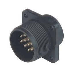 CM 02 E 20-27 P; Surface mounted connector, with flange, with solder bucket, 14 contacts + PE, MIL-C 5015 bzw. VG 95 342, black housing, 10A 50V AC/DC