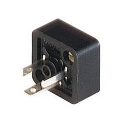 GSSNA 200 black; Appliance connector with central nut and 2 screws M 3 x 8, 2 contacts + PE, industrial standard (9.4 mm), Type C, 6A, 250V