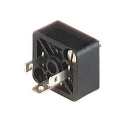 GSSA 200 black; Appliance connector with central nut and 2 screws M 3 x 8, 2 contacts + PE, industrial standard (9.4 mm), Type C, 4A, 250V