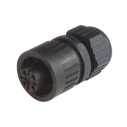 CA 3 LD; Straight Cable Socket, integrated strain relief, 3 contacts + PE, black housing, 10A, 250 V DC