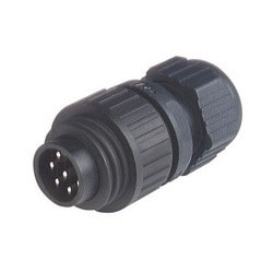 CA 6 LS; Straight Cable Plug, integrated strain relief, 6 contacts + PE, black housing, 10A, 250V AC/DC