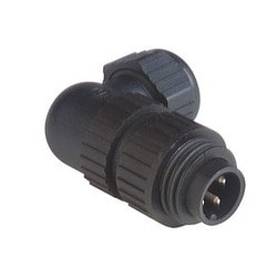 CA 3 W LS; Angled Cable Plug, integrated strain relief, 3 contacts + PE, black housing, 10A, 250 V DC