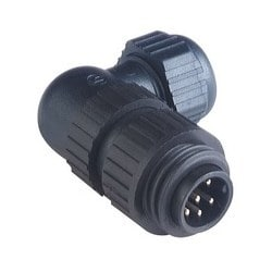 CA 6 W LS; Angled Cable Plug, integrated strain relief, 6 contacts + PE, black housing, 10A, 250V AC/DC
