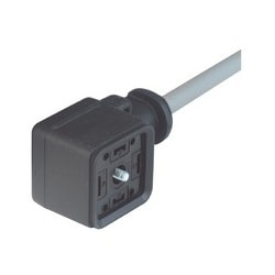 Rectangular connector - GAN-DAFE7A-AG0200C1-XC607-AD; Cable socket with integrally molded lead, gasket (captive) and central screw M3, cable length 2m