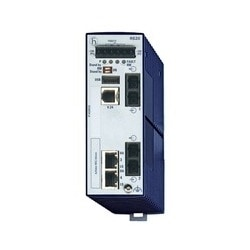 4 port Fast-Ethernet Compact OpenRail Switch, managed, software Layer 2 Professional, for DIN rail store-and-forward-switching, fanless; 4 ports in total; 1. uplink: 100BASE-FX, SM-SC; 2. uplink: 100BASE-FX, SM-SC; 2 x 10/100 BASE TX, RJ45