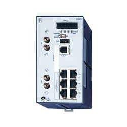 8 port Fast-Ethernet Compact OpenRail Switch, managed, software Layer 2 Professional, for DIN rail store-and-forward-switching, fanless; 8 ports in total; 1. uplink: 100BASE-FX, MM-ST; 2. uplink: 100BASE-FX, MM-ST; 6 x 10/100 BASE TX, RJ45