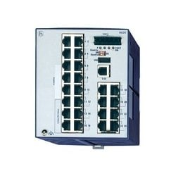 24 port Fast-Ethernet Compact OpenRail Switch, managed, software Layer 2 Enhanced, for DIN rail store-and-forward-switching, fanless; 24 ports in total; 1. uplink: 10/100BASE-TX, RJ45; 2. uplink: 10/100BASE-TX, RJ45; 22 x 10/100 BASE TX, RJ45