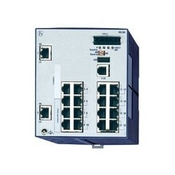 Compact OpenRail Gigabit Ethernet Switch; 18 Ports in total, 2 Gigabit Ethernet ports; 1. uplink: 10/100/1000BASE-TX, RJ45; 2. uplink: 10/100/1000BASE-TX, RJ45; 16 x standard 10/100 BASE TX, RJ45