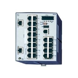 Compact OpenRail Gigabit Ethernet Switch; 26 Ports in total, 2 Gigabit Ethernet ports; 1. uplink: 10/100/1000BASE-TX, RJ45; 2. uplink: 10/100/1000BASE-TX, RJ45; 24 x standard 10/100 BASE TX, RJ45