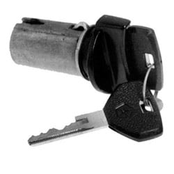 General Motor Ignition Cylinder Lock, Uncoded, 1986 to 1990 Year Model, Black, With (2) Molded Rubber Headed Key, Tilt Wheel