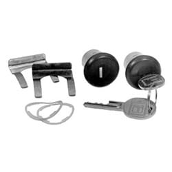 General Motor Door Cylinder Lock, Uncoded, 1965 Year Model, Black, With (2) Short Lock/Key/Retaining Clip/Gasket, For Secondary Key Groove