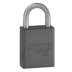 """Safety Padlock, Alike Keyed, 5-Pin, 1-1/2"""" Width x 3/4"""" Thickness, Anodized Aluminum Body, Blue, With 1"""" Clearance Chrome Plated Boron Alloy Shackle, Key Number 63387"""