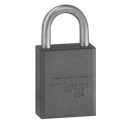 """Safety Padlock, Zero-Bitted, 5-Pin, 1-1/2"""" Width x 3/4"""" Thickness, Anodized Aluminum Body, Black, With 1"""" Clearance Chrome Plated Boron Alloy Shackle"""