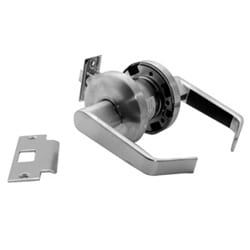 "Cylinder Leverset, Heavy Duty, Non-Clutch Mechanism, 6-Pin C Keyway, 2-3/4"" Backset, 1/2"" Throw Solid Brass Latchbolt, Satin Chrome, For Passage Lock Set"
