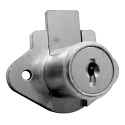 "Drawer Lock, Disc Tumbler, Diamond Back, Surface Mount, Keyed Differently AUE, 7/8"" Length x 2-1/16"" Width, Satin Brass"
