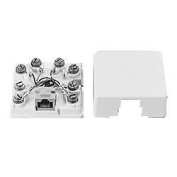 1-port surface mount jack 8Wx8P, keyed RJ48X shorting bar, ivory