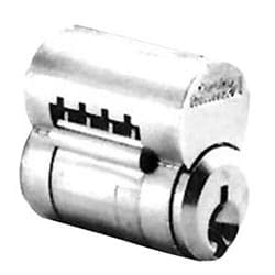 "Interchangeable Core Cylinder, Conventional, 6-Pin, 59C1 Keyway, 0.509"" Plug Diameter, Satin Chrome Plated, With (2) Nickel Silver Key"