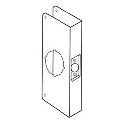 """Door Lock Wrap Around Plate, 4-1/4"""" Width x 9"""" Height, 2-3/4"""" Backset, 1-3/4"""" Door, 2-1/8"""" Hole, 22 Gauge, Antique Brass"""