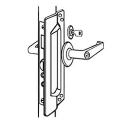 "Latch Protector, 3"" Width x 11"" Height, 12 Gauge Steel, Chrome Plated, For Outswinging Door"