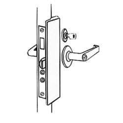 "Latch Protector, Slimline, 1-1/2"" Width x 8-7/8"" Height, 5/16"" Gauge Stainless Steel, Silver Coated, For Outswinging Door"