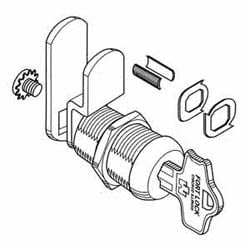 """Cam Lock, High Security, Double Bit, Multi-Function, 5-Tumbler, Keyed Alike D3012 Keying, 7/8"""", Stainless Steel"""
