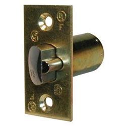 "Cylindrical Knob/Leverset Deadlatch, Square Corner, Grade-2, 2-3/4"" Backset, Bright Brass"