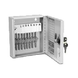 "Key Cabinet, 8 Key, 5 Wafer Cam Lock, White Plastic Single-Tag, 5.75"" Width x 2"" Depth x 6.63"" Height, Powder Coated Steel"
