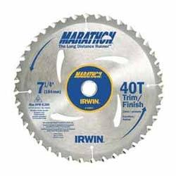 "Circular Saw Blade, Portable Carbide, 7-1/4"" Diameter x 40 Tooth, 5/8"" Diamond Arbor, 0.071"" Kerf, 20 Degree Hook Angle, ATB Grind, Carded"