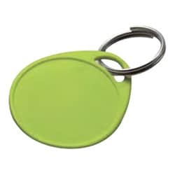 "Key Tag, Round, 1-Hole, 1-1/4"" Diameter, Plastic, White, With 3/4"" Key Ring, 25 each per Clamshell"