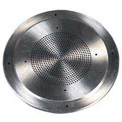 Round steel grille, white finish