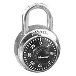 "Combination Padlock, Not Keyed, 1-7/8"" Width, 3/4"" Shackle Clearance, Stainless Steel, Black, With 903719 Key, For Security Purpose"