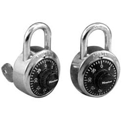 """Combination Padlock, 1-7/8"""" Width, 3/4"""" Shackle Clearance, Stainless Steel, Black Dial, With V638 Key, For Security Purpose"""