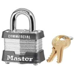 "Tumbler Padlock, Keyed Alike, 4-Pin W1 Cylinder, 1-9/16"" Width, 3/4"" Shackle Clearance, Laminated Steel, With (2) 0367 Key"