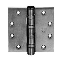 "Oil Bearing Hinge, Heavy Weight, Full Mortise, 5-Knuckle, 8-Hole, 4-1/2"" Length x 4-1/2"" Width x 0.18"" Thickness, Steel Base, Satin Chrome Plated, With Non-Removable Pin"