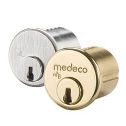 """Security Cylinder Lock, Mortise, Medeco3 Bilevel, FM Keyway, 1-1/8"""", 6-Pin, Sub Assembly, Satin Chrome, With Z02 Adams Rite Cam"""