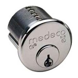 "Security Cylinder Lock, Mortise, Biaxial, Y3 Keyway, 1-1/8"", 6-Pin, Sub Assembly, Satin Chrome, With Z02 Adams Rite Cam"