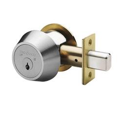 "Door Deadbolt, Single Cylinder, Medeco3, 6-Pin, Commercial Trim, Cylinder x Thumbturn, FM Keyway, 1-1/8"" Faceplate, 2-3/4"" Backset, Sub Assembly, Satin Chrome"
