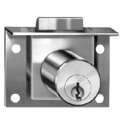 "Drawer Lock, Pin Tumbler, Half Mortise, 7/8"" Length Cylinder, 7/32"" Spring Bolt Travel, Dull Chrome, With (2) KD Key"