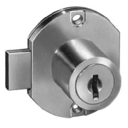 """Door Lock, Disc Tumbler, Surface Mount, 1-3/4"""" Width, 15/16"""" Length Cylinder, 11/32"""" Deadbolt Travel, Bright Brass, With (2) C415A Removable Key in Locked/Unlocked Position"""