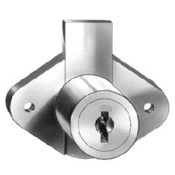 """Drawer Lock, Disc Tumbler, Surface Mount, 2-1/16"""" Width, 15/16"""" Length Cylinder, 11/32"""" Deadbolt Travel, Bright Nickel, With (2) C415A Removable Key in Locked/Unlocked Position"""